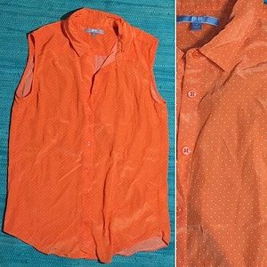 Uniqlo Orange button up blouse w white polka dots